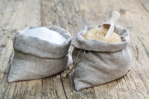 Various types of sugar, brown sugar and white