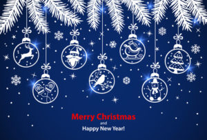 Merry Christmas and Happy New Year winter greeting card background with xmas decoration elements hanging balls on ropes on evergreen fir pine tree branches in blue and white colors